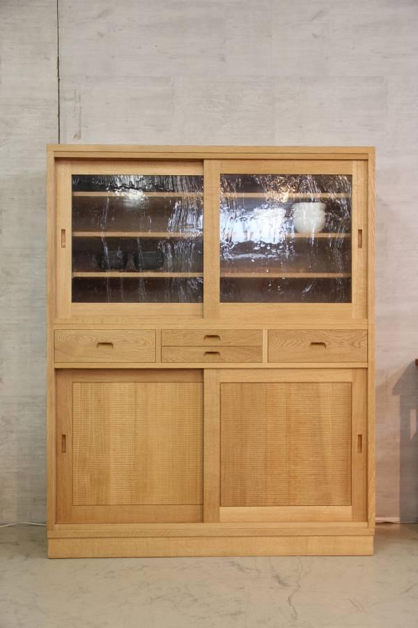 【ZEN食器棚(泡ガラス仕様)】 ナラ W1200 H1500 D420(オーダー可)
